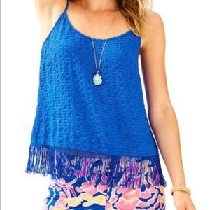 Lilly Pulitzer Naeem Brilliant Blue Top Size XS
